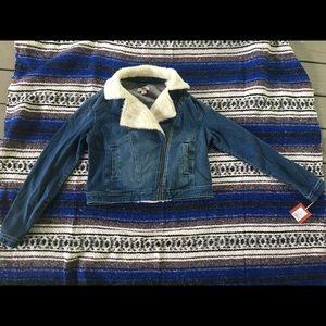 NWT Mossimo supply co Denim jacket Sherpa Trim